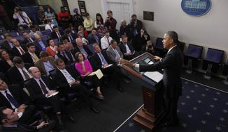 President Barack Obama speaks about his signature health care law, Thursday, Nov. 14, 2013, in the Brady Press Briefing Room of the White House in Washington. Bowing to pressure, President Barack Obama intends to permit continued sale of individual insurance plans that have been canceled because they failed to meet coverage standards under the health care law, officials said Thursday. (AP Photo/Charles Dharapak)