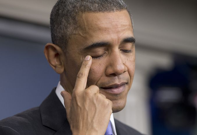 President Barack Obama pauses to rub his eye as he speaks about his signature health care law, Thursday, Nov. 14, 2013, in the Brady Press Briefing Room of the White House in Washington. Bowing to pressure, President Barack Obama intends to permit continued sale of individual insurance plans that have been canceled because they failed to meet coverage standards under the health care law, officials said Thursday. (AP Photo/Carolyn Kaster)