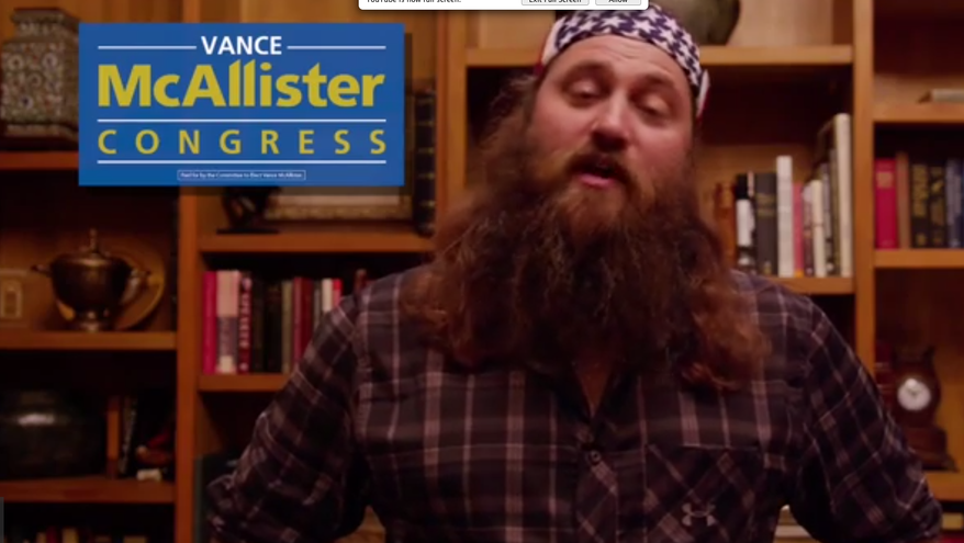 Duck Dynasty's Willie Robertson endorses 'good buddy' Vance McAllister in Louisiana House race in this ad.