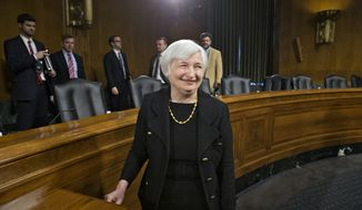 Janet Yellen, President Obama's nominee to succeed Ben Bernanke as Federal Reserve chairman, smiles after finishing her confirmation hearing before the Senate Banking Committee on Capitol Hill in Washington, Thursday, Nov. 14, 2013. Yellen, 67, is expected to be confirmed by the Democratic-controlled Senate before Bernanke steps down in January.  (AP Photo/J. Scott Applewhite)