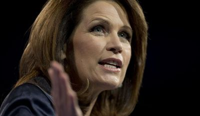 **FILE** Rep. Michelle Bachmann, Minnesota Republican, speaks at the 40th annual Conservative Political Action Conference in National Harbor, Md., on March 16, 2013. (Associated Press)