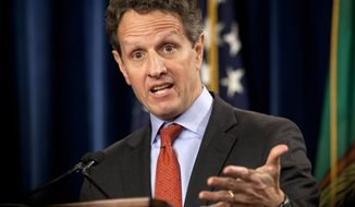 FILE - This Feb. 2, 2012 file photo shows then Treasury Secretary Timothy Geithner during a news conference at the Treasury Department in Washington.  The former U.S. Treasury Secretary is joining private equity firm Warburg Pincus LLC. The firm announced Saturday, Nov. 16, 2013,  that Geithner will serve as president and managing director of the firm starting March 1, 2014. Geithner played a central role in devising the U.S. government's response to the financial crisis of 2008-2009. (AP Photo/Carolyn Kaster, file)