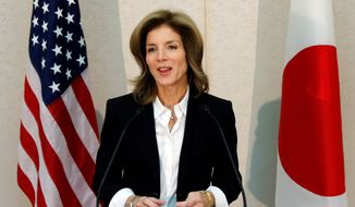 Caroline Kennedy speaks shortly after arriving Friday at Narita International Airport near Tokyo to start her job as U.S. ambassador to Japan. (Associated Press)