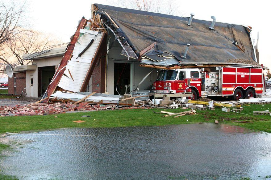 Sunday's tornado caused major damage to Fire Station No. 6 in Kokomo on Nov. 17, 2013. (AP Photo / Kokomo Tribune, Kelly Lafferty)