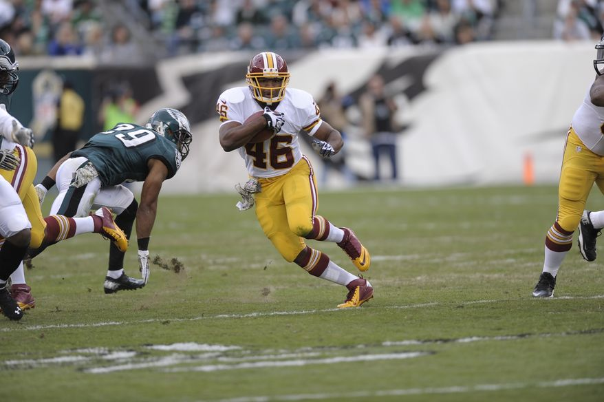 Washington Redskins' Alfred Morris is seen during the first half of an NFL football game against Philadelphia Eagles in Philadelphia, Sunday, Nov. 17, 2013. (AP Photo/Michael Perez)