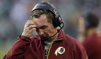 Washington Redskins head coach Mike Shanahan scratches his head during the second half of an NFL football game against the Philadelphia Eagles in Philadelphia, Sunday, Nov. 17, 2013. The Eagles defeated the Redskins 24-16. (AP Photo/Matt Rourke)