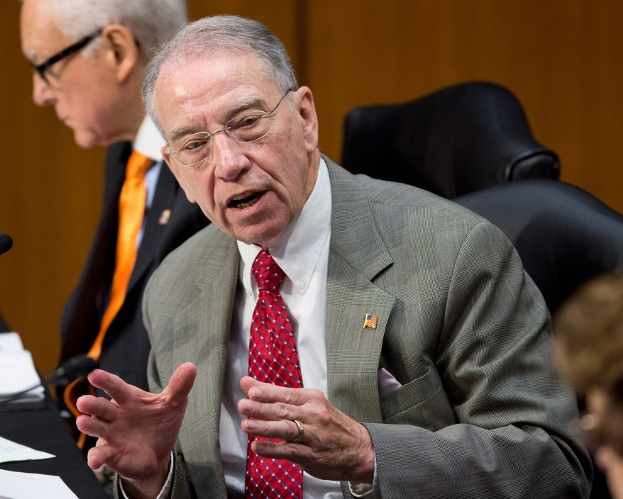 Sen. Chuck Grassley of Iowa, the ranking Republican on the Senate Judiciary Committee, defends the value of the filibuster on judicial nominees, saying Democrats are trying to pack the U.S. Circuit Court of Appeals for the D.C. Circuit. (Associated Press)