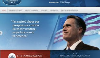 "A poll says contemporary voters may pine for what would have been: Here's Mitt Romney's ""transition"" White House website, which disappeared when he lost the 2012 election to President Obama. (Romney Readiness Project)"