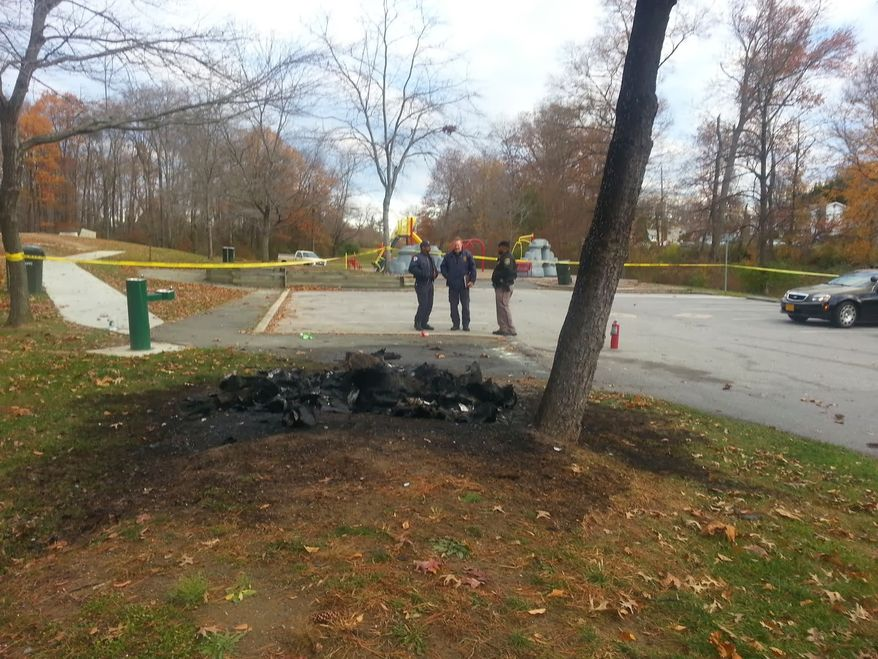 A man died after being found inside a burning porta-potty in a College Park, Md., neighborhood park early Tuesday, authorities said. (Prince George's County Fire/EMS)