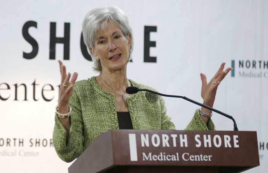 ** FILE ** Department of Health and Human Services Secretary Kathleen Sebelius responds to questions during a news conference at the North Shore Medical Center, Tuesday, Nov. 19, 2013, in Miami. Sebelius visited Miami and Orlando Tuesday to talk up the Affordable Care Act as fallout from the new law grows. (AP Photo/Lynne Sladky)