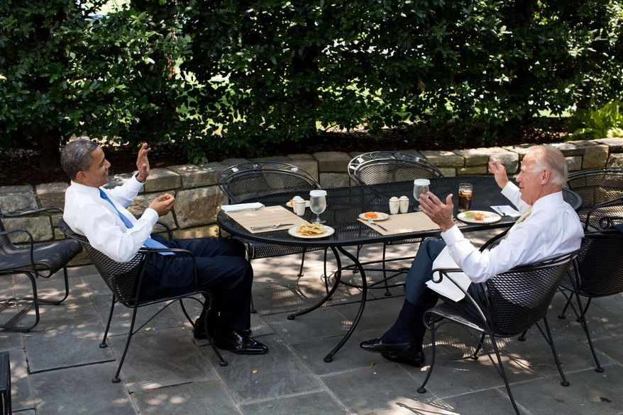 President Barack Obama has lunch with Vice President Joe Biden on the Oval Office patio, June 28, 2012. (Official White House Photo by Pete Souza)