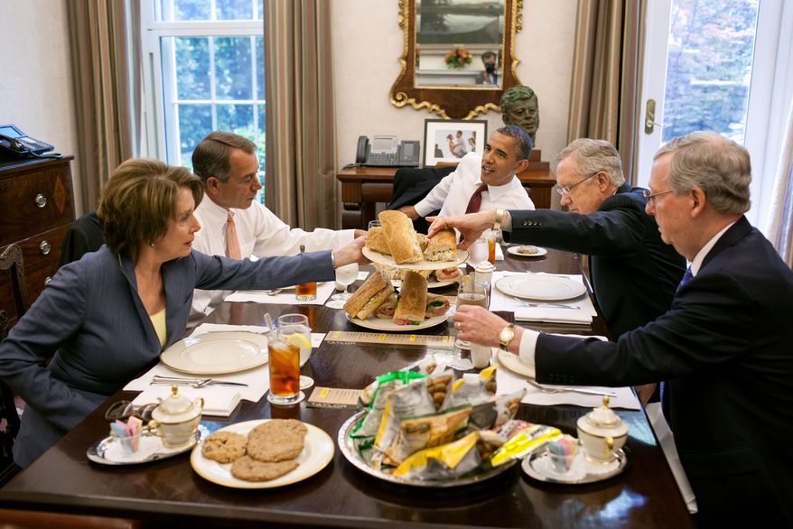 ** FILE ** President Barack Obama has lunch with members of the congressional leadership in the Oval Office Private Dining Room, May 16, 2012. The president served hoagies from Taylor Gourmet, which he purchased after a small business roundtable earlier in the day. Seated, clockwise from the president, are: Senate Majority Leader Harry Reid, Senate Minority Leader Mitch McConnell, House Minority Leader Nancy Pelosi, and House Speaker John Boehner.(Official White House Photo by Pete Souza)