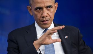** FILE ** President Obama gestures while speaking at the Wall Street Journal CEO Council annual meeting in Washington, Tuesday, Nov. 19, 2013. (AP Photo/ Evan Vucci)