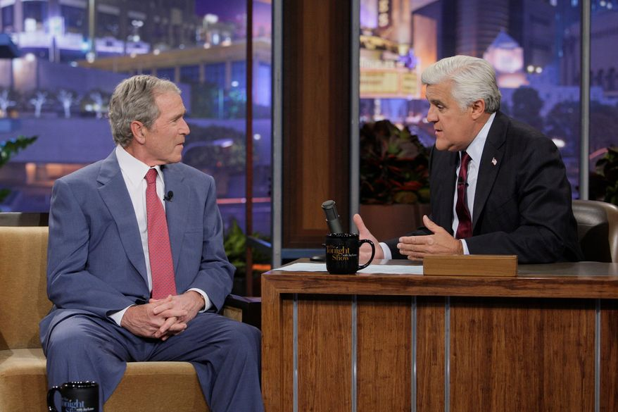 """I really don't miss the spotlight,"" former President George W. Bush said of his post-White House years during an interview Tuesday with Jay Leno on ""The Tonight Show."" (NBC via associated Press)"