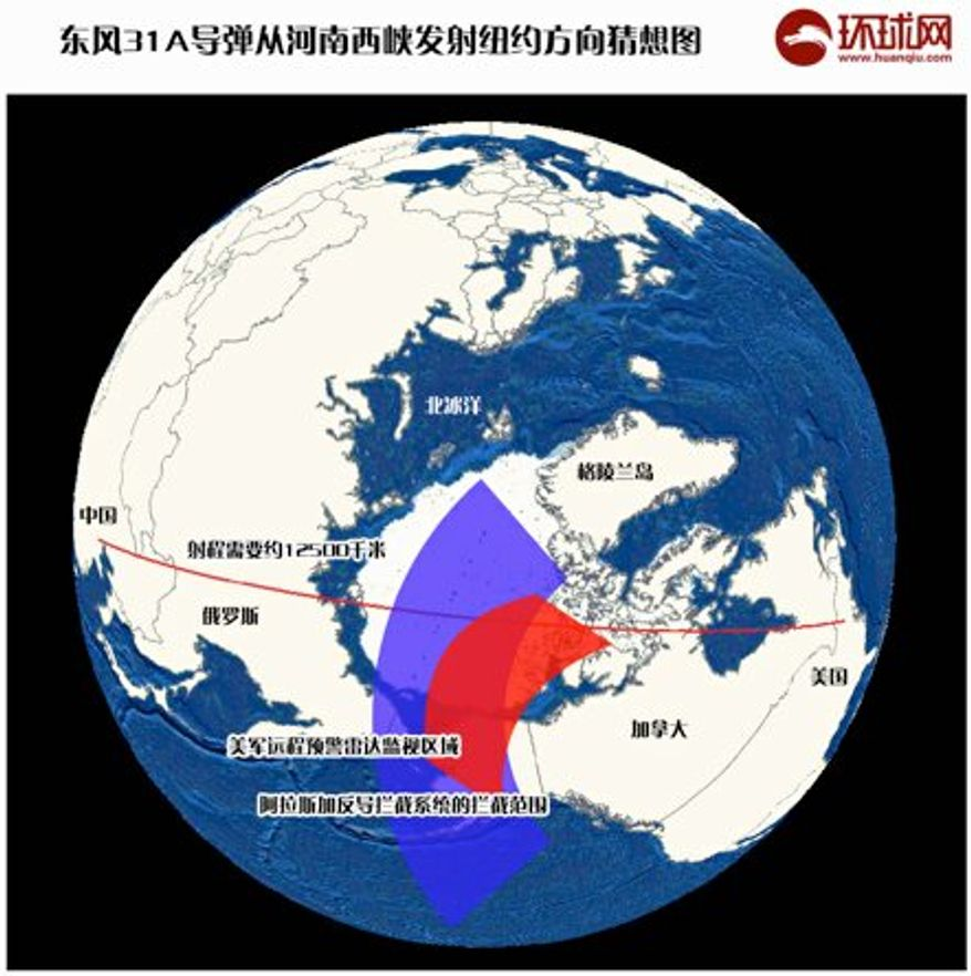 China's Global Times published a map Oct. 30 revealing national plans on how long-range nuclear missiles can be launched to reach New York City.