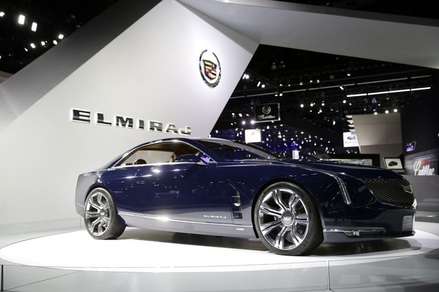 The Cadillac Elmiraj concept car is shown at the Cadillac booth at the 2013 Los Angeles Auto Show on Wednesday, Nov. 20, 2013, in Los Angeles. (AP Photo/Jae C. Hong)