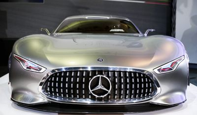 The Mercedes-Benz AMG Vision Gran Turismo concept vehicle is introduced at the Los Angeles Auto Show on Wednesday, Nov. 20, 2013, in Los Angeles. (AP Photo/Jae C. Hong)