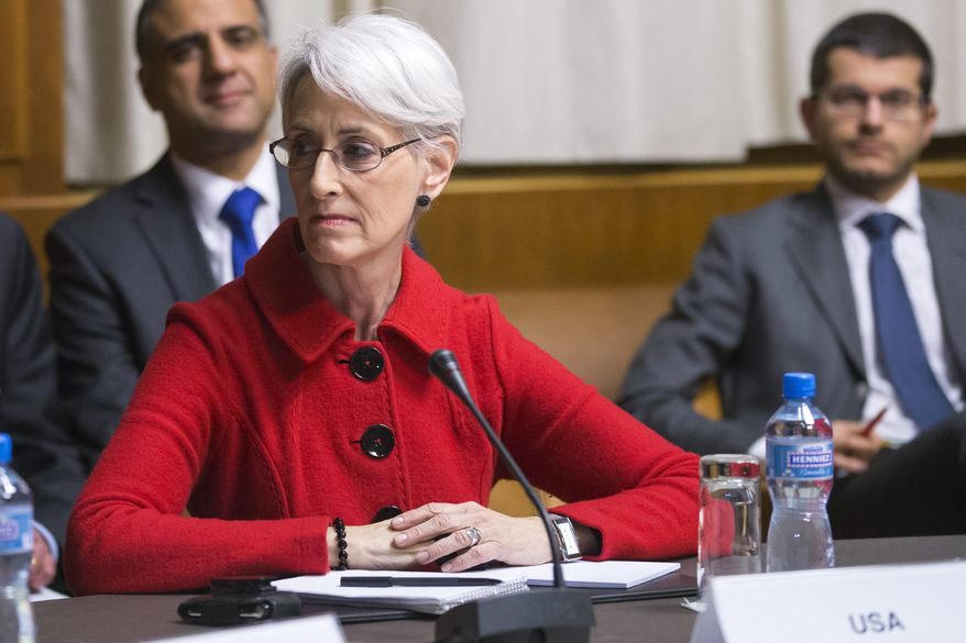 Wendy Sherman, U.S. Under Secretary for Political Affairs, looks to her right before the start of the three days of closed-door nuclear talks in Geneva, Switzerland, Wednesday, Nov. 20, 2013. (AP Photo/Keystone,Salvatore Di Nolfi)