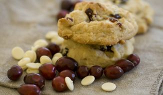 Cherry white chocolate drop cookies are pictured on Wednesday, Nov. 4, 2013, in Concord, N.H. (AP Photo/Matthew Mead)