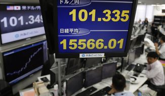 Money traders work under a screen showing Japan's Nikkei index, center bottom, and the U.S. dollar rate against the Japanese yen, center top, at a foreign exchange company in Tokyo, Friday, Nov. 22, 2013. The Dow's first close above 16,000 pushed most Asian stocks higher Friday as investors put aside worries the Federal Reserve will cut its monetary stimulus soon. (AP Photo/Shuji Kajiyama)