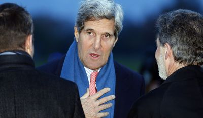 U.S. Secretary of State John F. Kerry arrives at Geneva Airport in Geneva, Switzerland, on Saturday, Nov. 23, 2013, for the Iran nuclear talks. (AP Photo/Denis Balibouse, Pool)
