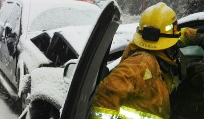 This image provided by the San Bernardino County Fire Department shows a traffic accident in the San Bernardino Mountains in California. The rain throughout the West led to flooding in San Bernardino County, where five homeless people were trapped by water and had to be rescued from the Santa Ana River, fire officials told the San Bernardino County Sun. (AP Photo/San Bernardino County Fire Department)