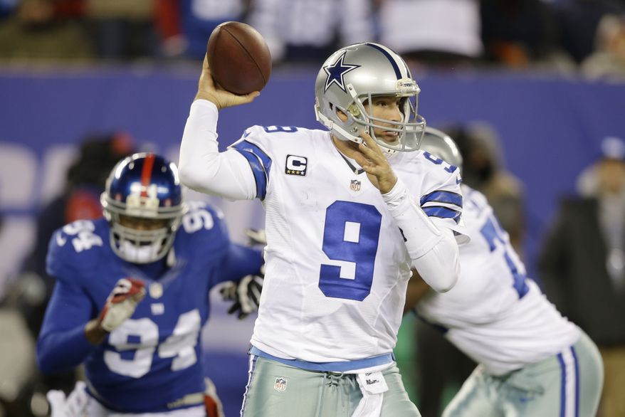 Dallas Cowboys quarterback Tony Romo (9) throws a pass during the second half of an NFL football game against the New York Giants, Sunday, Nov. 24, 2013, in East Rutherford, N.J. (AP Photo/Seth Wenig)