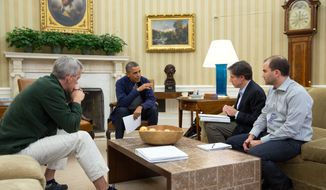 President Barack Obama meets in the Oval Office with Chief of Staff Denis McDonough, and Deputy National Security Advisors Tony Blinken and Ben Rhodes, to discuss ongoing negotiations with Iran, Saturday, Nov. 23, 2013. 