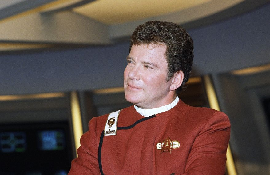 "William Shatner appears dressed as Capt. Kirk at a photo opportunity promoting the Paramount Studios film ""Star Trek V: the final frontier,"" Dec. 28, 1988. (AP Photo/Bob Galbraith) ** FILE **"
