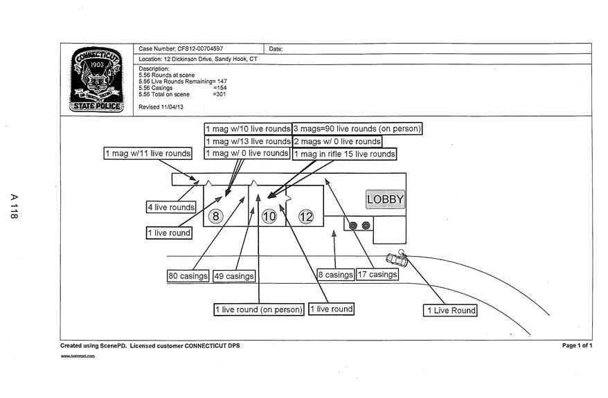 """This image contained in the """"Appendix to Report on the Shootings at Sandy Hook Elementary School and 36 Yogananda St., Newtown, Connecticut On December 14, 2012"""" and released Monday, Nov. 25, 2013, by the Danbury, Conn., State's Attorney shows a State Police diagram of ballistics found at the school. Adam Lanza opened fire inside the school killing 20 first-graders and six educators before killing himself as police arrived. (AP Photo/Office of the Connecticut State's Attorney Judicial District of Danbury)"""