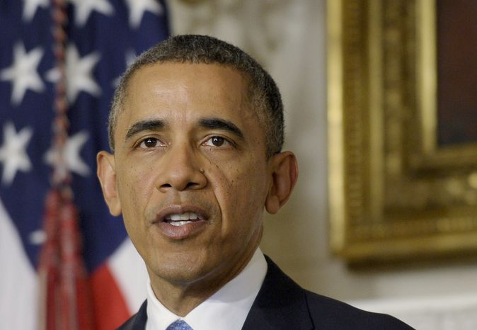 ** FILE ** This Nov. 23, 2103, file photo shows President Barack Obama speaking in the State Dining Room at the White House about the nuclear deal between six world powers and Iran that calls on Tehran to limit its nuclear activities in return for sanctions relief. (AP Photo/Susan Walsh, File)