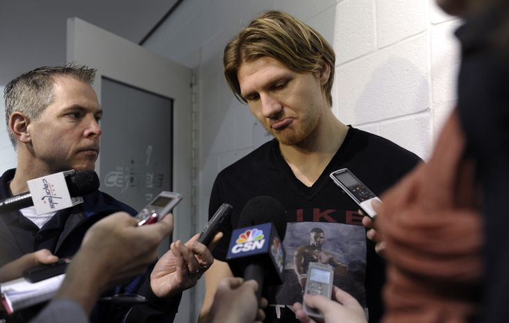 **FILE** Washington Capitals' Martin Erat talks with reporters at the Kettler Iceplex in Arlington, Va., Wednesday, May 15, 2013. The Capitals were eliminated in the first round of the NHL Stanley Cup playoffs by the New York Rangers. The Capitals have had six consecutive playoff appearances and have failed to get past the second round. (AP Photo/Susan Walsh)