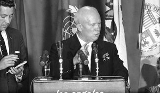 Soviet leader Nikita Khrushchev riled Mao Zedong in the late 1950s with a proposal to build Soviet long-wave submarine communications stations inside China. (AP Photo)