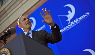 President Barack Obama speaks during his visit to DreamWorks Studios in Glendale, Calif., Tuesday, Nov. 26, 2013. Obama was wrapping up a three-day West Coast tour by making an economic pitch at the studio of movie producer Jeffrey Katzenberg, one of his top fundraisers and political supporters. (AP Photo/Pablo Martinez Monsivais)