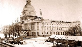 The U.S. Capitol dome during its completion in November, 1863