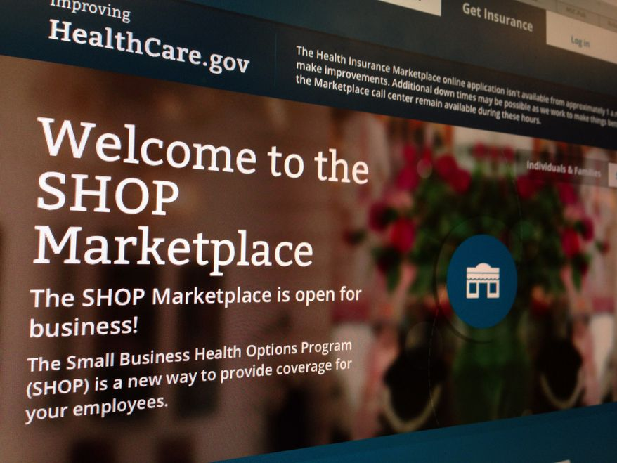 This photo of part of the HealthCare.gov website page featuring information about the SHOP Marketplace is photographed in Washington, Wednesday, Nov. 27, 2013 The Obama administration is delaying yet another aspect of the health care law, putting off until next November the launch of an online portal to the health insurance marketplace for small businesses. The move was needed because repairs are still under way to the troubled HealthCare.gov website, which is the primary way for individuals to apply for insurance, and that has priority, federal officials said. (AP Photo/Jon Elswick)