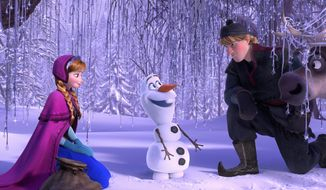 """Anna, voiced by Kristen Bell, marries a handsome prince while Olaf, voiced by Josh Gad, (center) provides comic relief in """"Frozen."""" Kristoff (right) is voiced by Jonathan Groff. (Disney via Associated Press)"""