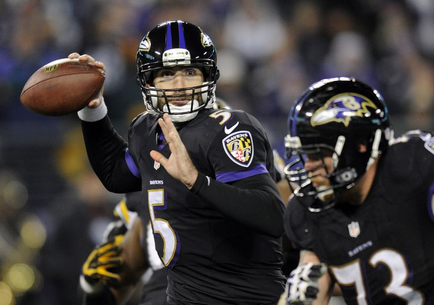 Baltimore Ravens quarterback Joe Flacco (5) throws to a receiver in the first half of an NFL football game against the Pittsburgh Steelers, Thursday, Nov. 28, 2013, in Baltimore. (AP Photo/Nick Wass)