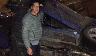 Josh Romney pulled four people from a car wreck on Thanksgiving on his way home from dinner Thursday night. (Image: Twitter, Josh Romney)