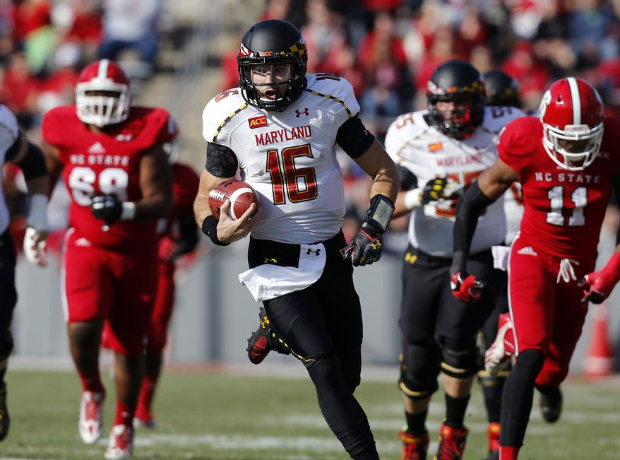Maryland quarterback C.J. Brown (16) runs for a 49-yard touchdown during the first half of an NCAA college football game against North Carolina State on Saturday, Nov. 30, 2013, in Raleigh, N.C., (AP Photo/The News & Observer, Ethan Hyman)