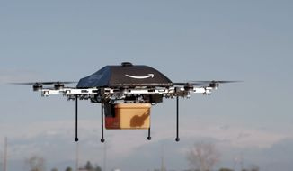 This undated image provided by Amazon.com shows the so-called Prime Air unmanned aircraft project that Amazon is working on in its research and development labs. (AP Photo/Amazon) ** FILE **