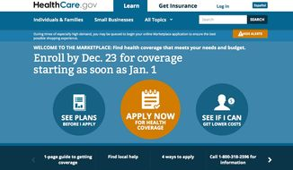 A screen shot of the home page for healthcare.gov, taken on Dec. 2, is seen here.