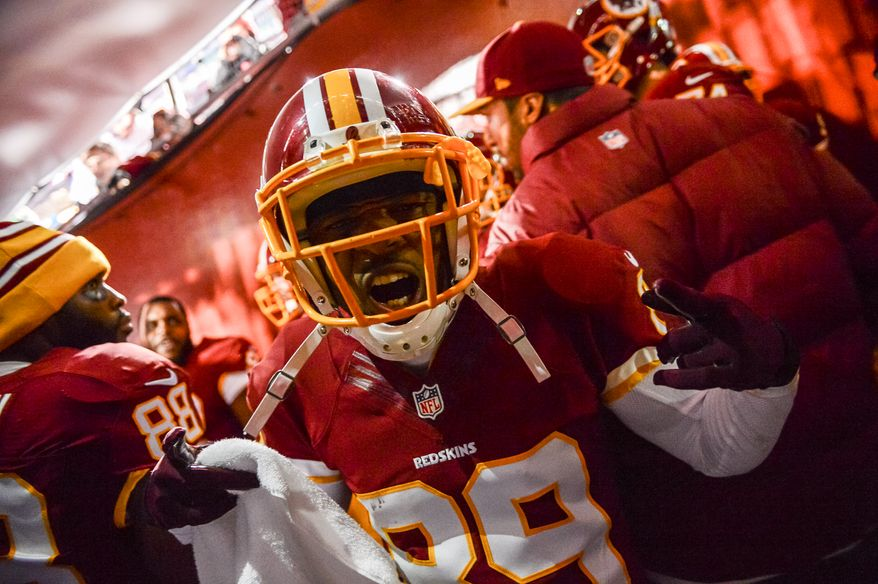 Washington Redskins wide receiver Santana Moss (89) waits to take the field before the Washington Redskins play the New York Giants in Sunday Night Football at FedExField, Landover, Md., Sunday, December 1, 2013. (Andrew Harnik/The Washington Times)