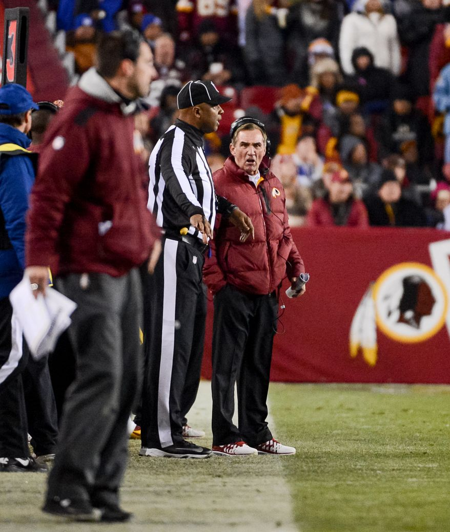 Washington Redskins head coach Mike Shanahan argues a call on the sideline in the third quarter as the Washington Redskins play the New York Giants in Sunday Night Football at FedExField, Landover, Md., Sunday, December 1, 2013. (Andrew Harnik/The Washington Times)
