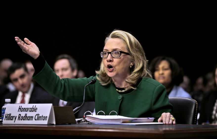 Secretary of State Hillary Rodham testifies on Capitol Hill in Washington, Wednesday, Jan. 23, 2013, before the Senate Foreign Relations Committee hearing on the deadly September attack on the U.S. diplomatic mission in Benghazi, Libya, that killed Ambassador J. Chris Stevens and three other Americans. (Associated Press) ** FILE **
