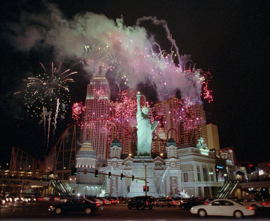 **FILE** Fireworks explode over the New York-New York, a $460 million hotel & casino in Las Vegas, on Jan. 2, 1997. (Associated Press)