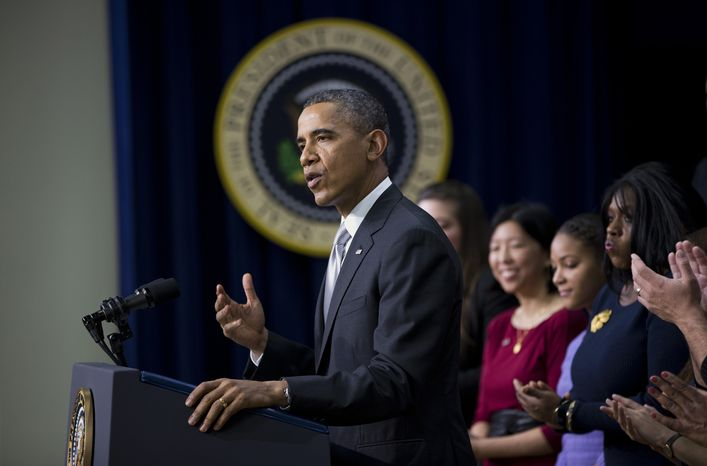 """President Barack Obama gestures as he speaks about the new health care law, Tuesday, Dec. 3, 2013, in the South Court Auditorium in the Eisenhower Executive Office Building on the White House complex in Washington. The president said his signature health care law """"is working and will work into the future."""" Obama said the benefits of the law have """"gotten lost"""" in recent months as attention focused on the widespread problems that crippled the website where people can sign up for health insurance. On stage with the president are Americans the White House says have gained as a result of the Affordable Care Act.  (AP Photo/ Evan Vucci)"""