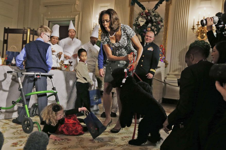 First lady Michelle Obama reacts as Ashtyn Gardner, 2, from Mobile, Ala., loses her balance when she was greeting Sunny, one of the presidential dogs, as children of military families participate in a holiday arts and crafts event in the State Dining Room at the White House in Washington, Wednesday, Dec. 4, 2013. (AP Photo/Charles Dharapak)