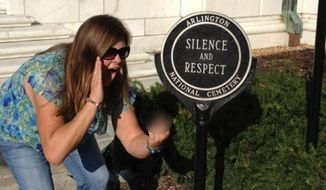 Lindsey Stone was fired from her job at an assisted-living facility in Massachusetts after posting this photo to her facebook page in 2012.