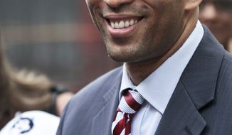 State Assemblyman Hakeem Jeffries smiles during an interview after voting in the New York Primary on Tuesday, June 26, 2012.  Jeffries face City Council member Charles Barron in Brooklyn's 8th Congressional District vacated by Democrat Edolphus Towns who retired.  (AP Photo/Bebeto Matthews)